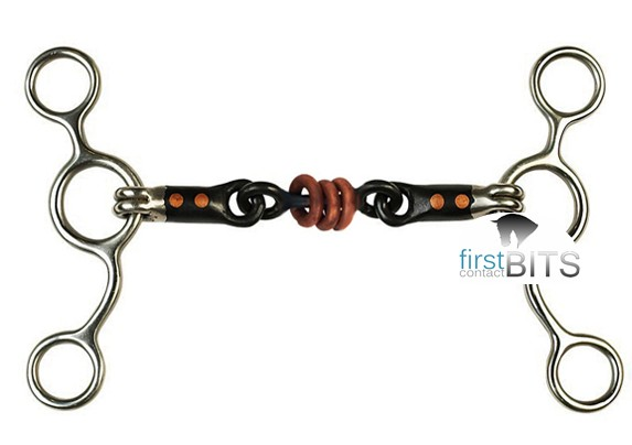 Black steel Pro Trainer gag bit with copper rings and inlay