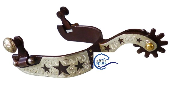 Western spurs. Hand engraved German Silver trims (star)